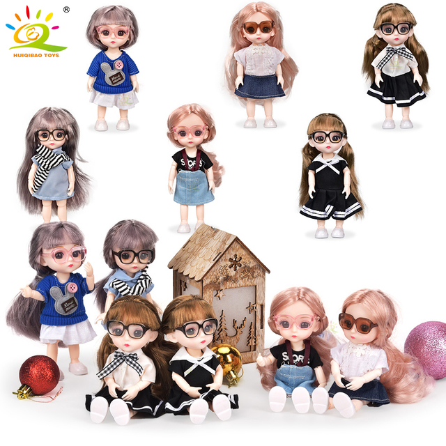 6inch Princess Girl Doll bjd Boneca Dolls normal/joint body Ball Jointed Reborn Glasses Dolls Toys Clothes Shoes Gift For Girls 2