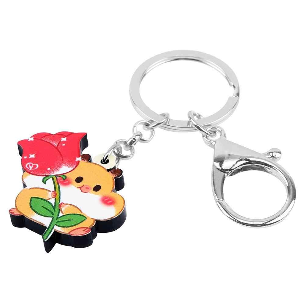 Bonsny akrilik sevgililer günü Anime sincap gül anahtarlık halka çanta araba çanta dekorasyon anahtarlıklar kadınlar için kız severler hediye
