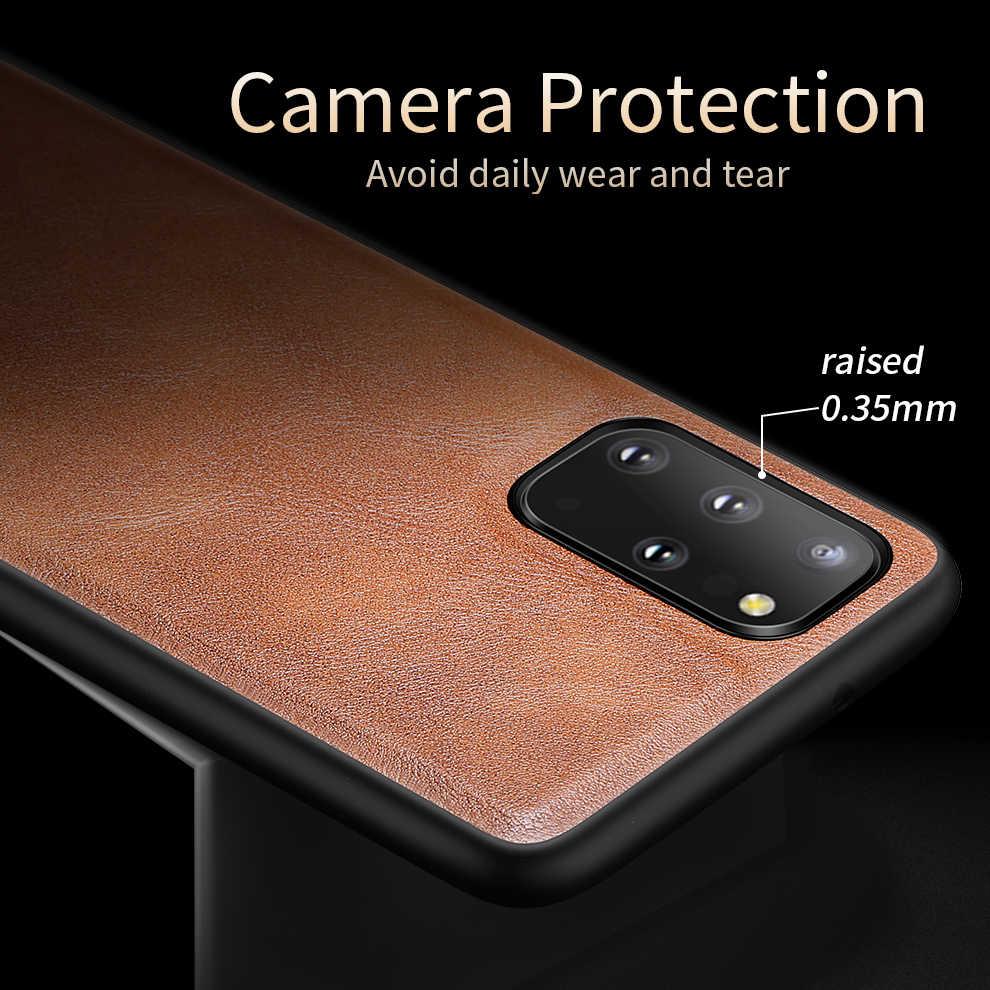 X-seviye deri kılıf Samsung S20 artı orijinal yumuşak silikon kenar geri telefon kapak Samsung Galaxy için S20 ultra kılıf S20 5G
