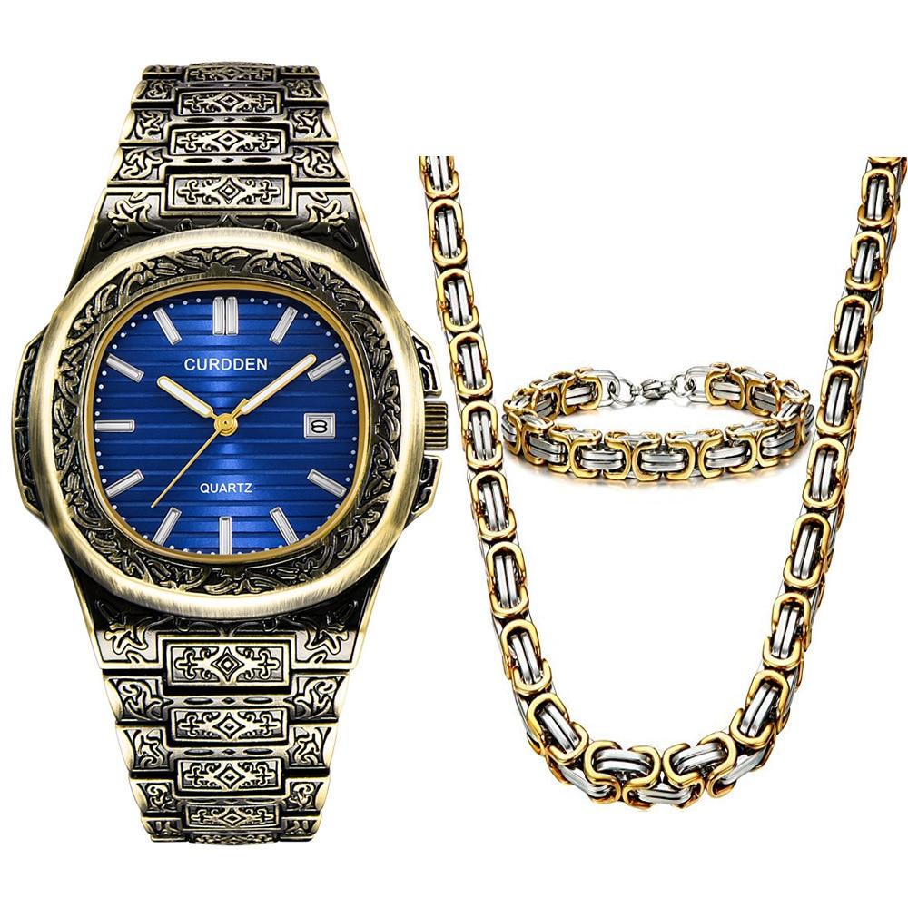 3pcs / Set Hip-hop Necklace Bracelet Men Watches 2020 Luxury Brand Calendar Steel Wristwatch Mens Watches Quartz Boyfriend Gift