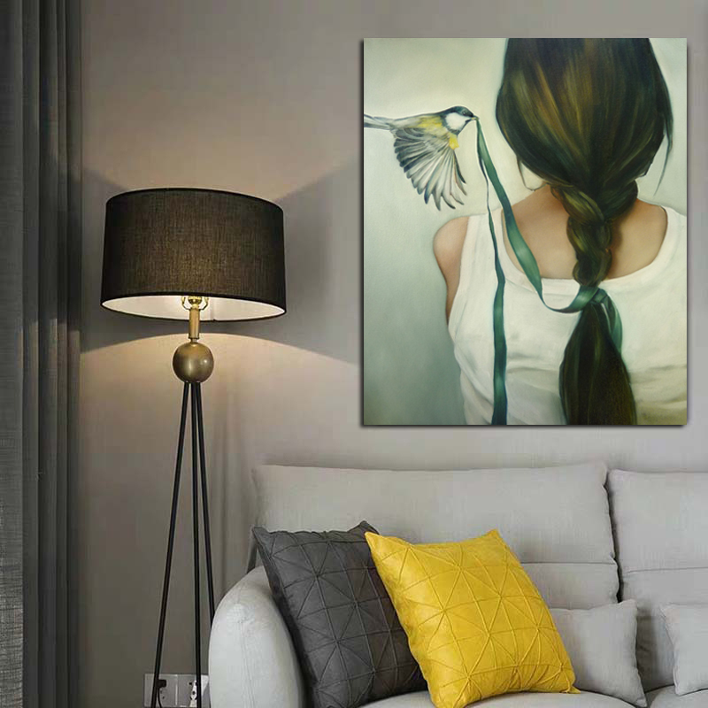 Abstract Pictures Bird Pecking Woman's Head Rope Wall Art Canvas Painting For Home Decoration Painting On Canvas For Unique Gift