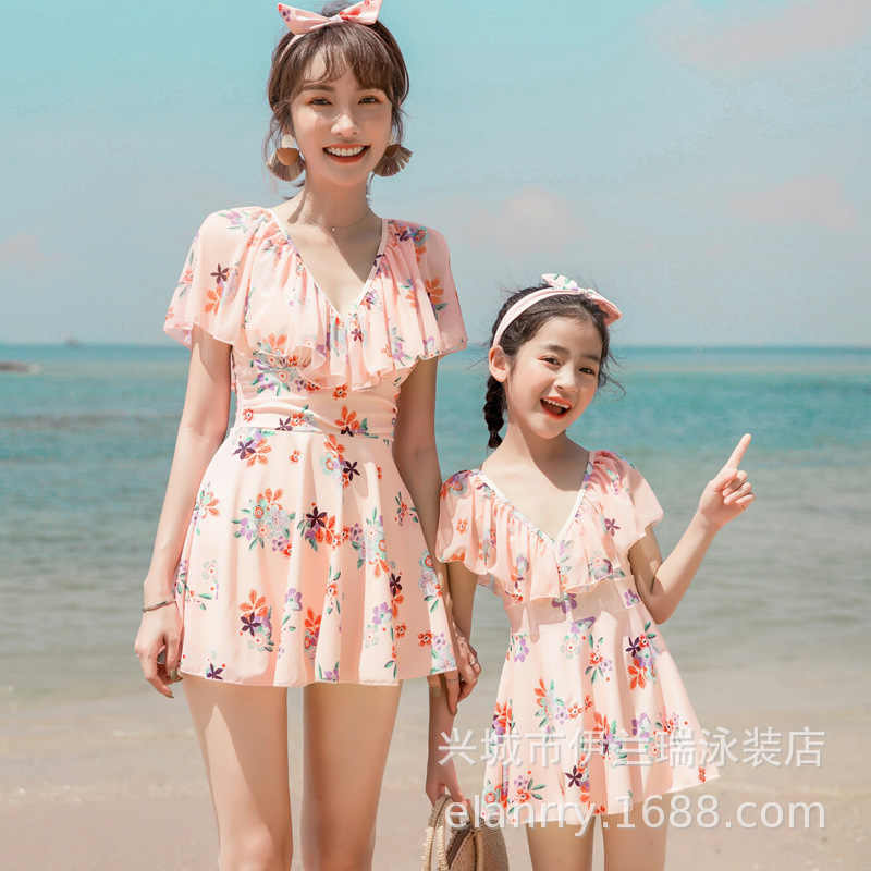 2020 New Style Parent And Child Bathing Suit Mother & Daughter Flounced Printed Slimming Dress-Bathing Suit Conservative Parent