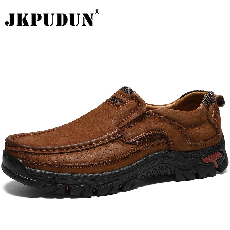 Genuine Leather Men Casual Shoes Sneakers High Quality Mens Loafers Moccasins Breathable Slip On Driving Shoes Plus Size 38-48