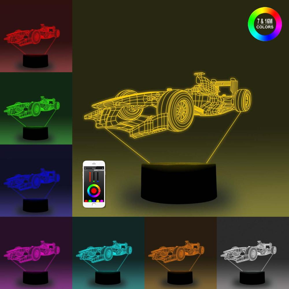 NiteApps 3D Racing Car Night Light Desk Table Illusion Decoration Lamp Holiday Birthday Gift APP/Touch Control