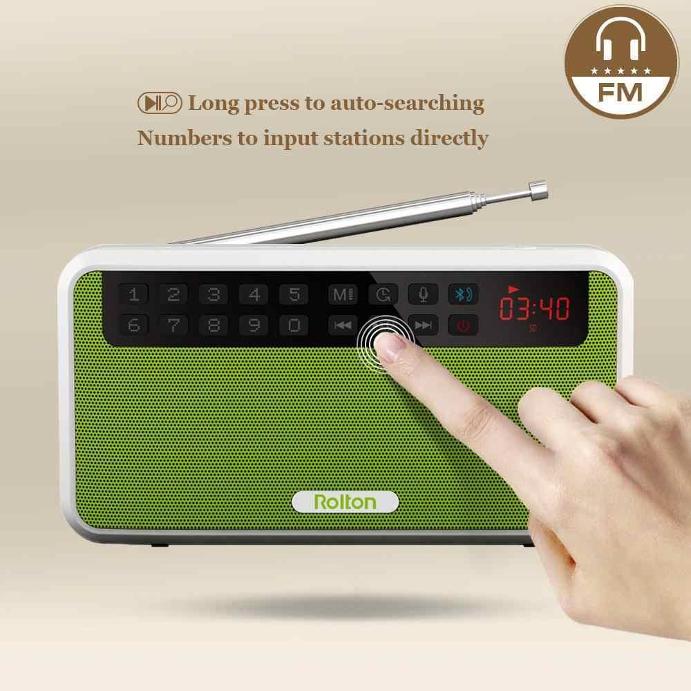 BEESCLOVER Rolton E500 Tragbare Stereo Bluetooth Lautsprecher FM Radio Clear Bass Dual Track Lautsprecher TF Karte USB Musik Player r60