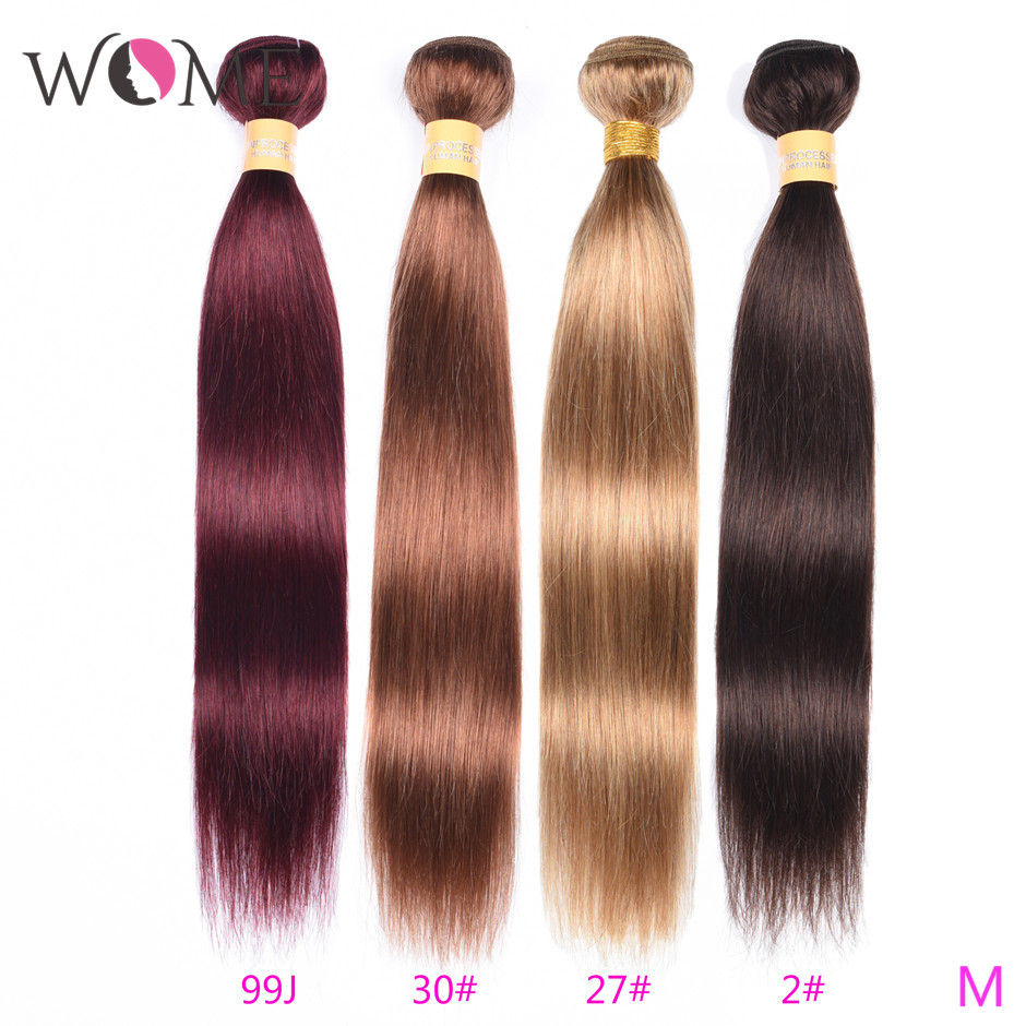 Wome Pre-colored Human Hair Bundles Brazilian Straight Hair #2 #27 #30 #99j Color Hair Bundles Non-remy Hair Extensions