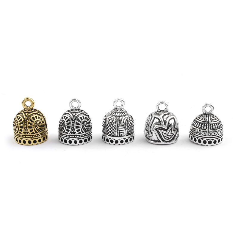 10pcs Antique Silver Vintage 12mm Cap Filigree Charms Tassel End Caps Bead For Bracelet Necklace DIY Jewelry Findings Making