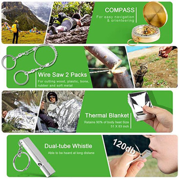 13 in 1 Outdoor Emergency Survival kit Tactical SOS, EDC with Flashlight Compass Knife Laser pointer 6