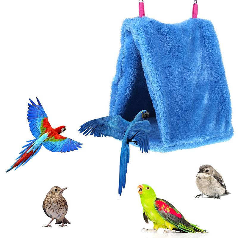Bird Hammock Hanging Cave Cage Plush Snuggle Happy Hut Tent Bed Bunk Parrot Toy
