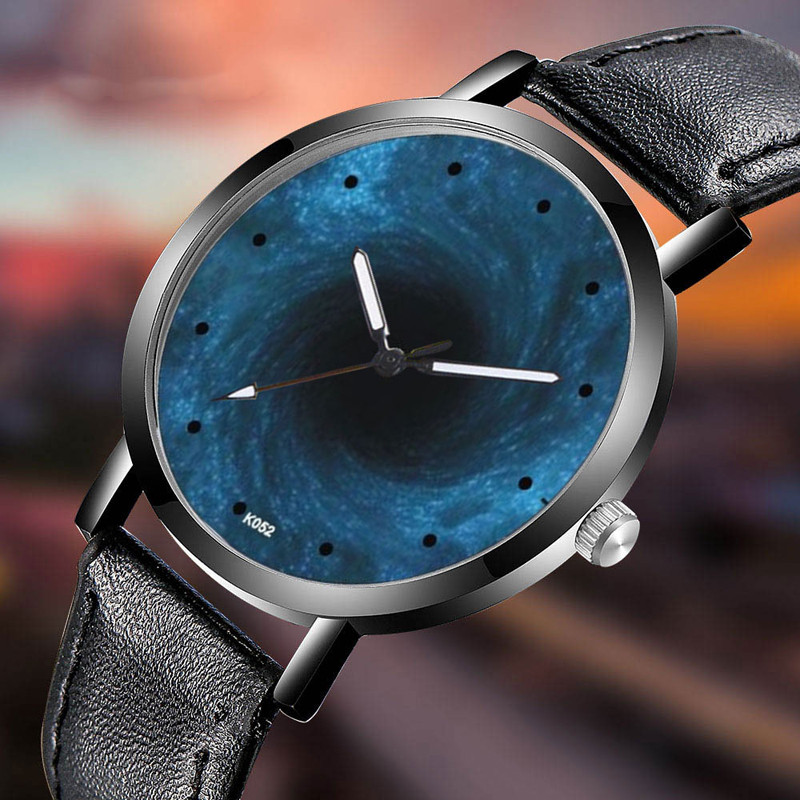 Unique Swirl Men Watch Classy Astronomy Creative Space Watch Casual Quartz Leather Strap Analog Wirst Watches Montre Femme