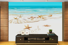 3 d TV living room mural wallpaper blue sky white clouds sea shells ocean scenery wallpaper(China)