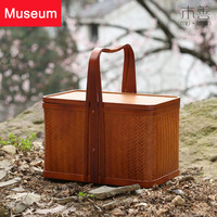 Bamboo Weaving Accept Basket The Gift Box Picnic Basket Moon Cake Packing Box Hand Cabas Suitcase Tea Set Box Chinese Style Hand