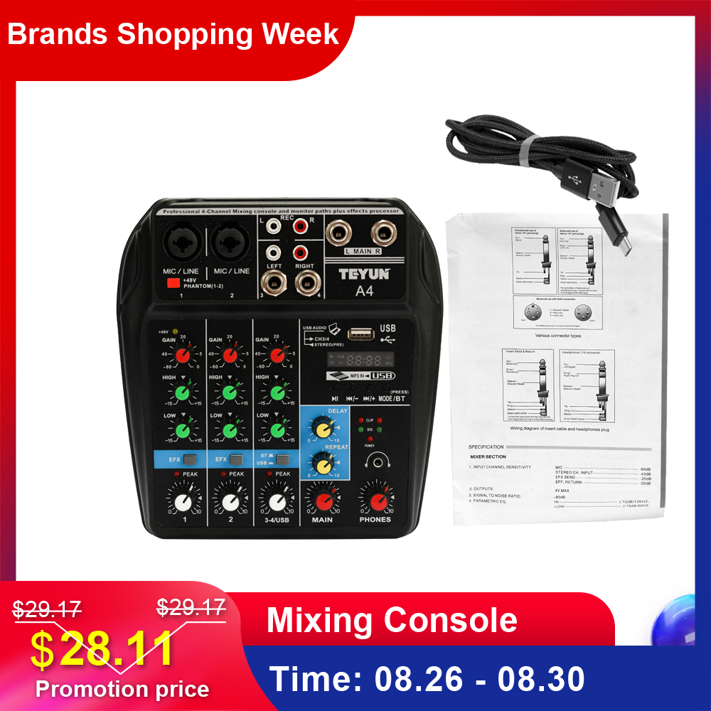 tu04-bt-sound-mixing-console-record-48v-phantom-power-monitor-aux-paths-plus-effects-4-channels-audio-mixer-with-usb