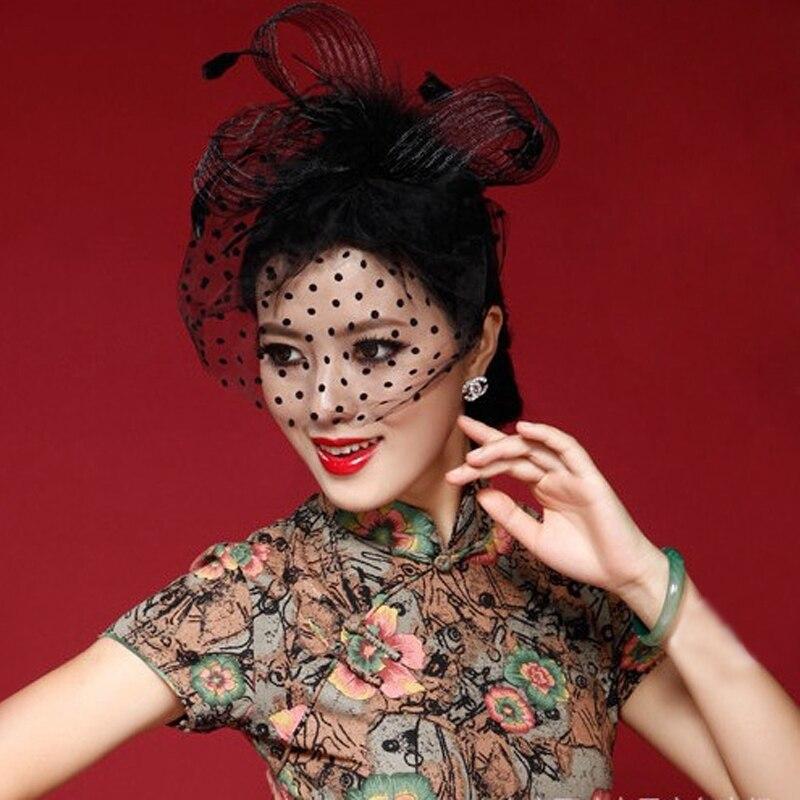 Elegant Black Women Bridal Hats And Fascinators Headpiece Lady Face Veils Dot Net With Lssuing Headband Wedding Accessories