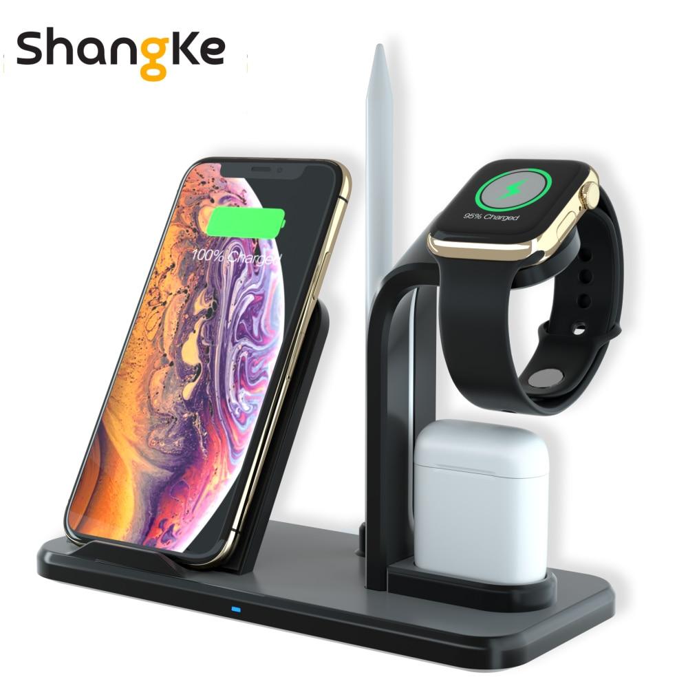 3 в 1 Беспроводной Зарядное устройство подставка для iPhone AirPods Apple Watch Charge док станции для Apple Watch Series 4/3/2/1 iPhone X 8 XS XR