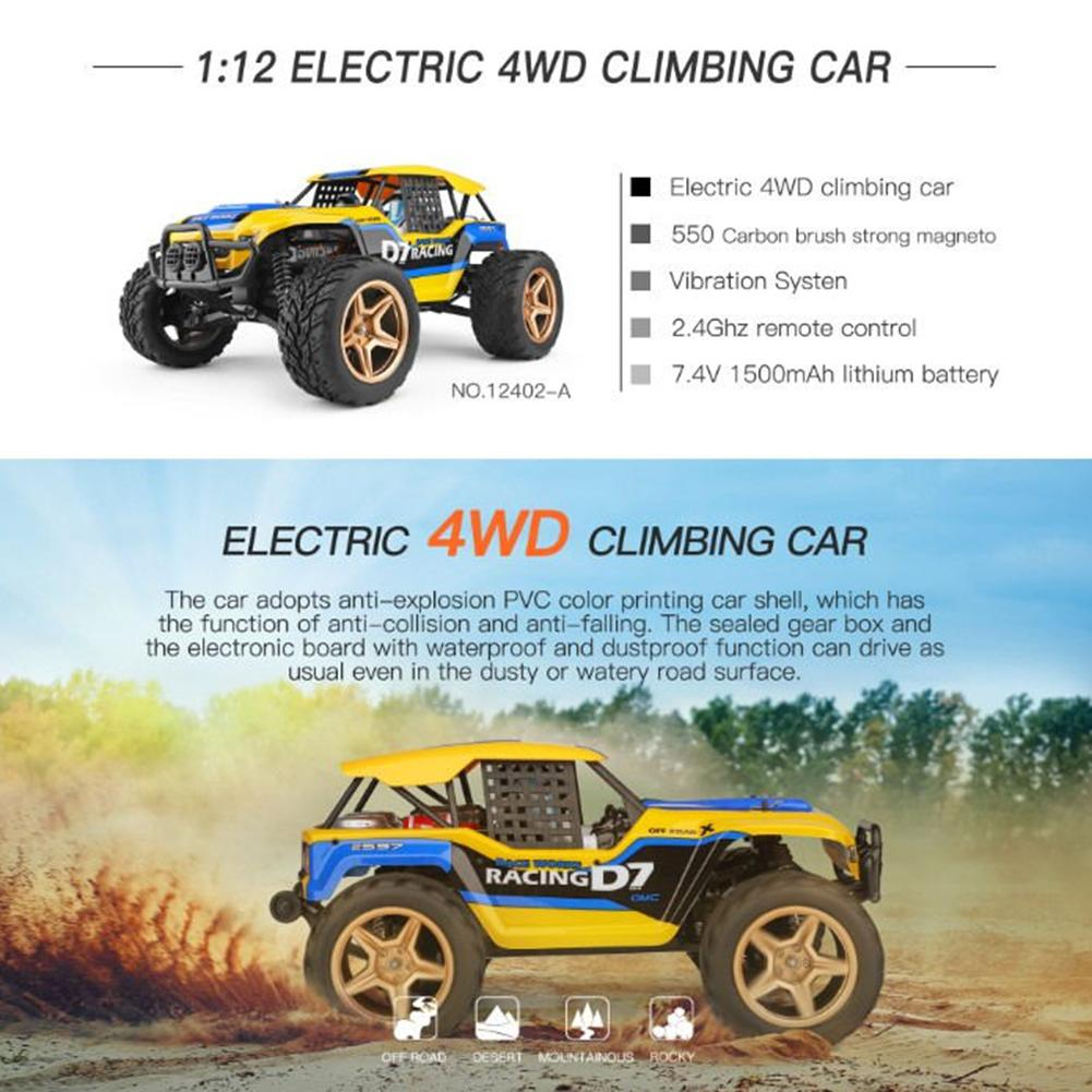 Funny Mini Radio EWltoys 1/12 12402-A 4WD 2.4G RC Car  Models High Speed 45km / H Remote Control Car Model Vehicle Off-road Toy