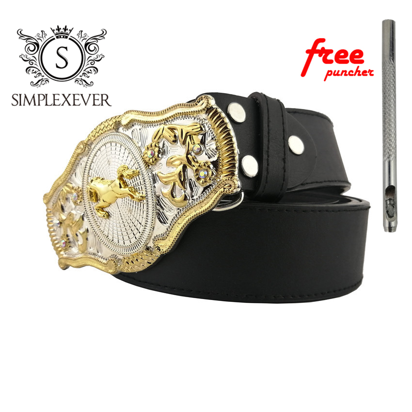 Mens' Belt Buckle Brand Western Fashion Horse Belt Buckle With Leather Belt As Birthday Gifts Drop Shipping