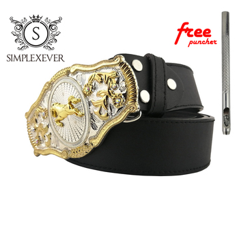 Mens' Belt Buckle Brand Western Fashion Horse Belt Buckle with Leather Belt As Birthday Gifts Drop Shipping недорого