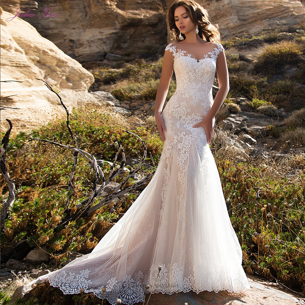Julia Kui Elegant Scoop Neckline Mermaid Wedding Dress With Sweep Train Of Button Closure