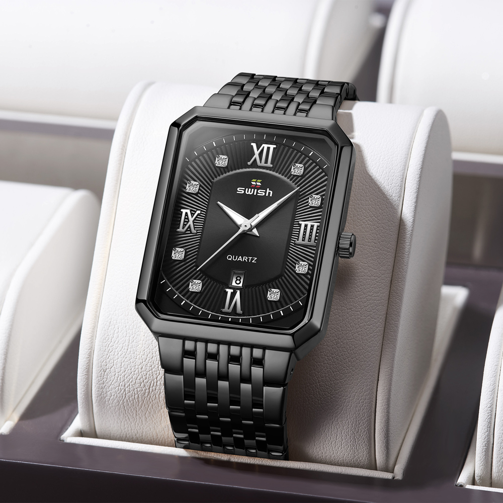 Black Watches for Men Warterproof Mens Watch Top Brand Luxury Clock Male Rectangle Business Quartz Wristwatch Relogio Masculino 5