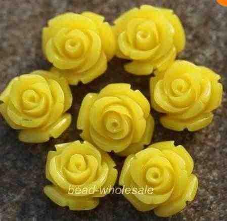 OMH ขายส่ง 10 12 15 มม.20 pcs Gorgeous Rose ดอกไม้ Coral Spacer ลูกปัดสีแดงสีฟ้าสีขาว U เลือกสี