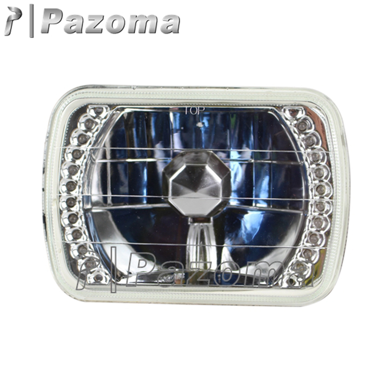 "Square 7x6/"" inch LED Headlights Chrome Crystal Sealed Hi-Lo Beam Lamps Assembly"