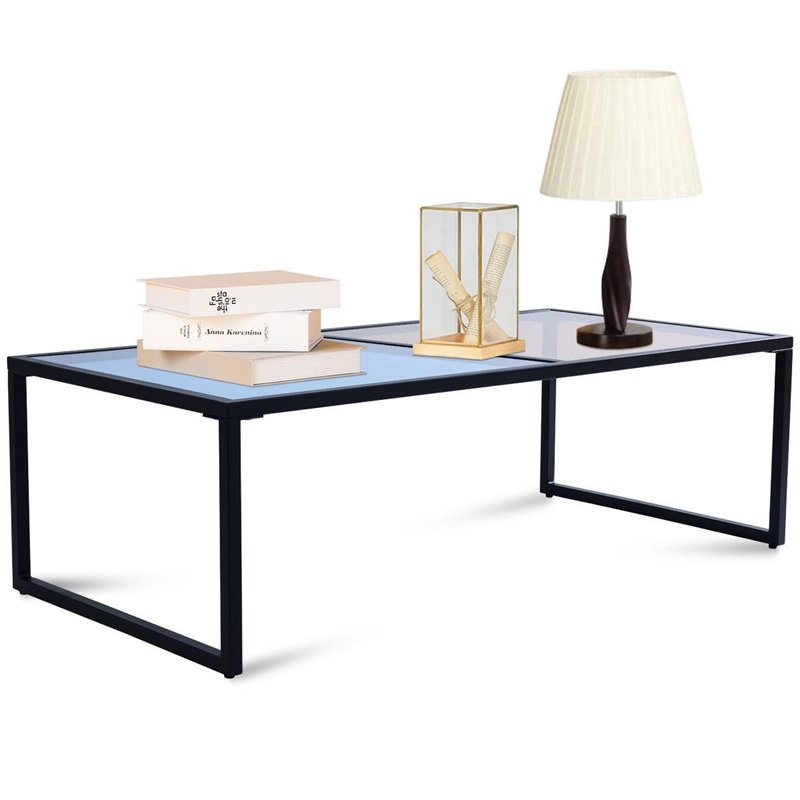 Living Room Rectangular Coffee Table With Tempered Glass Top Glass Iron Frame Blue Tan Living Room Home Coffee Table HW57282