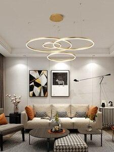 Image 5 - 40 سنتيمتر 100 سنتيمتر خواتم fashional أدى الثريات الحديثة لغرفة الطعام غرفة diy شنقا الإضاءة دائرة خواتم داخلي الإضاءة