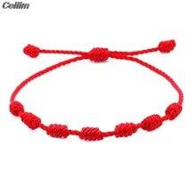 7 nós corda vermelha pulseiras para proteção boa sorte amuleto para o sucesso prosperidade artesanal corda pulseiras sorte charme pulseiras