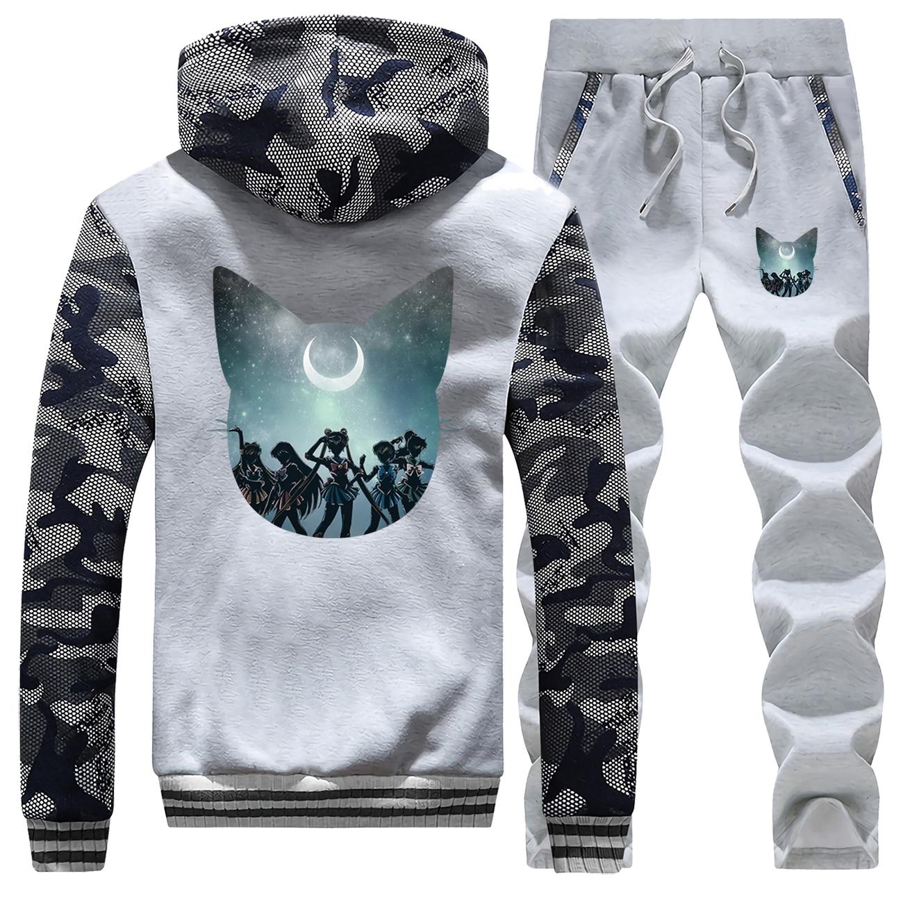 Winter 2019 Hot Sale Sweatshirt Cartoon Men Camouflage Sailor Moon Hip Hop Hoodie Fashion Suit Warm Jackets+2 Piece Set Pants