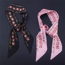 2020 New Summer Elegant Women Skinny Scarf Silk Hair Neck Scarfs Tie Floral Print Lady Ribbon Bag Hand Scarves Fashion Headwear cheap Kiximire Adult Polyester 80cm-100cm 95*5cm