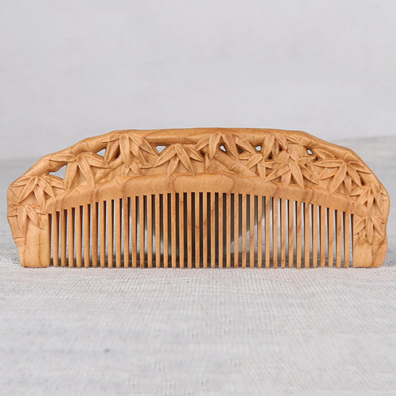 Retro Carved Pocket Wooden Comb Natural Peach Wood Anti-static Massage Health Care Combs Women Hair Comb Hair Styling Tool