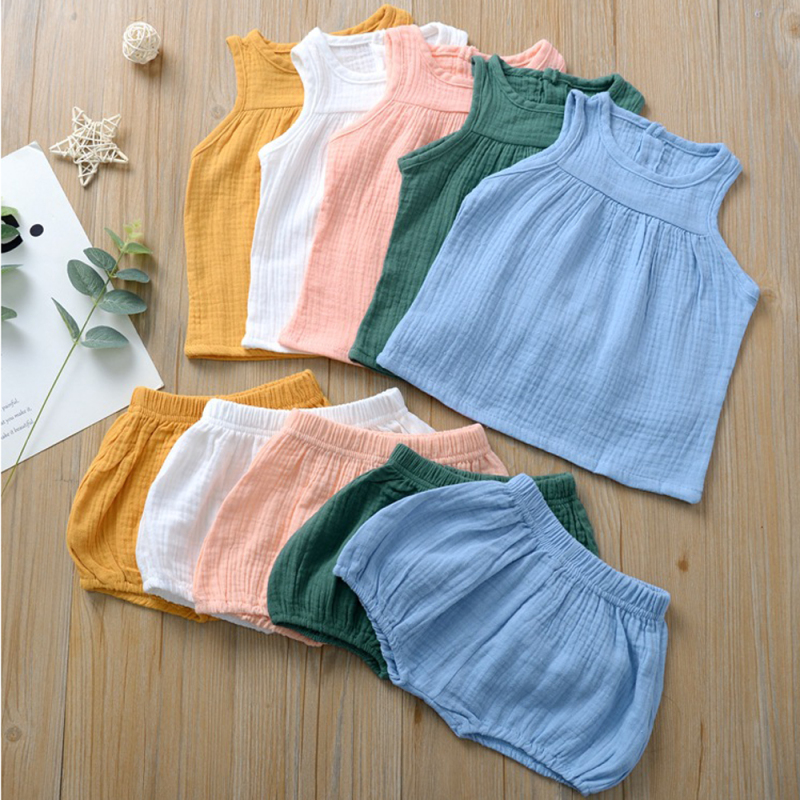 2020 Summer Linen Baby Boys Suits Cotton Kids Outfits Children Girl Clothing Set Newborn Vest Tops+Shorts Toddler Cloth 0-4Y