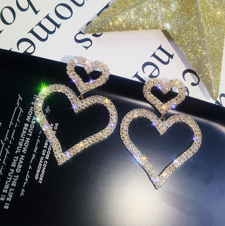 Sell Hot Exaggerated Fashion Crystal Double Heart Earrings Contracted Joker Long Women Drop Earrings Jewelry