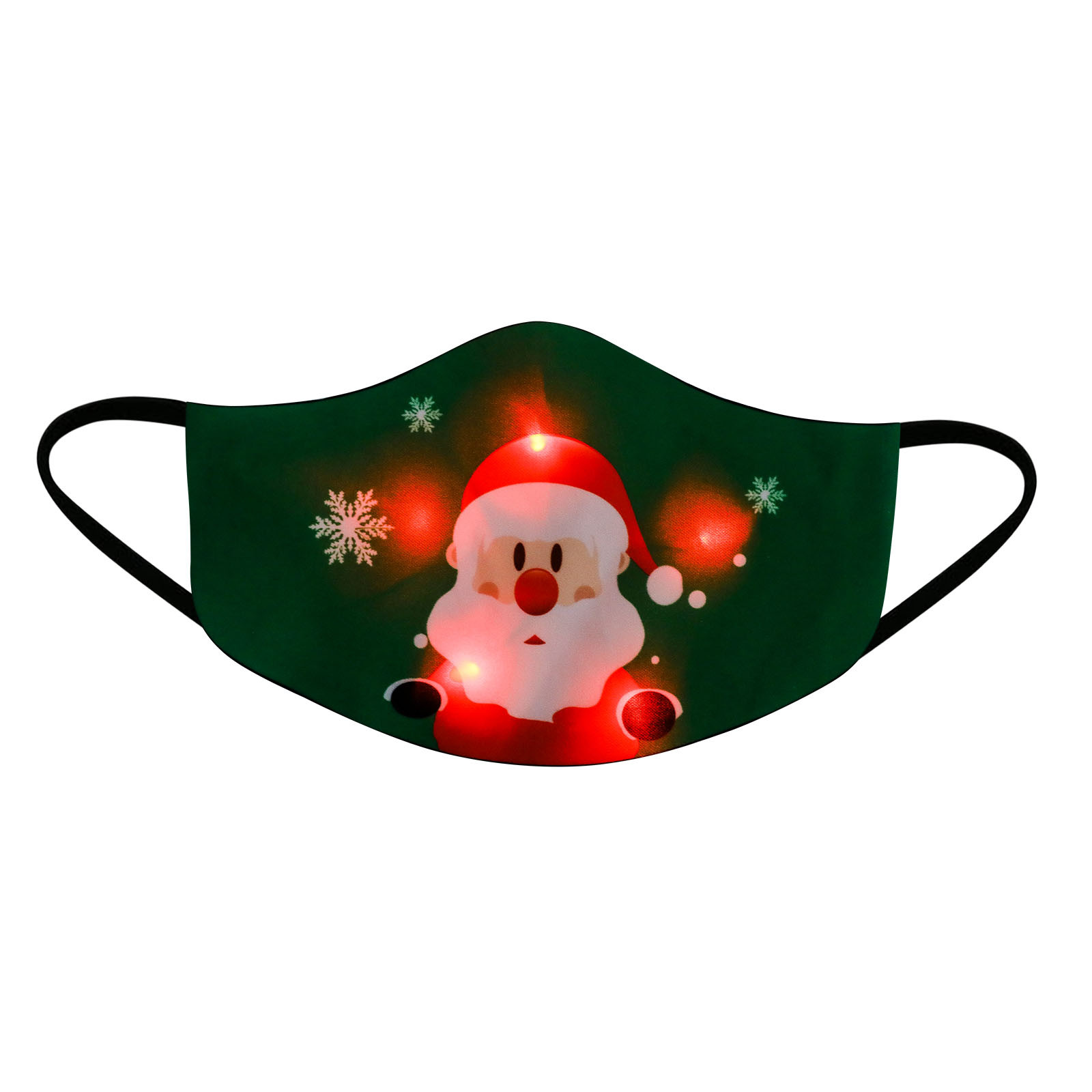Reusable Christmas Party Masks Led Light Up Glowing Merry Xmas Cloth Face Mask For Men
