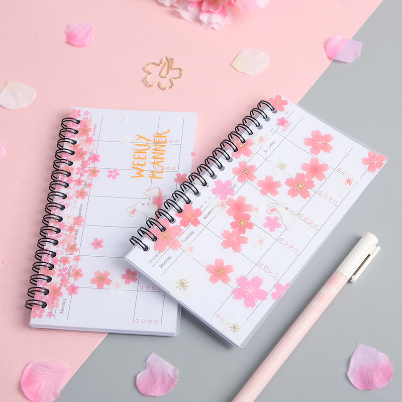 A6 Weekly Planner Notebook School Supplies Office Portable 2019 2020 Agenda Cherry Organizer Schedule Diary Monthly Stationary