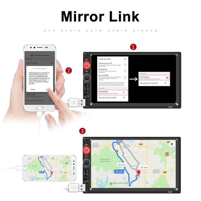 """2 din radio samochodowe 7 """"odtwarzacz HD MP5 ekran dotykowy cyfrowy wyświetlacz Multimedia Bluetooth USB 2din radio samochodowe tworzenia kopii zapasowych samochodów Monitor"""