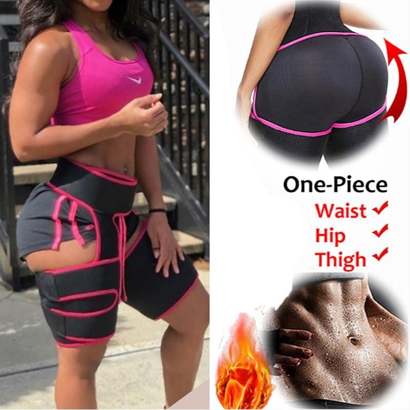 Women Neoprene Waist Trainer Sweat Shapewear Slim Belt Thigh Trimmer Leg Shapers Slender Toned Muscles Band Thigh Slimmer Wrap