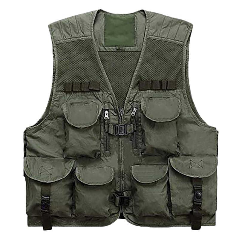 Men Safari Gilet Jacket Outdoor Fish Hunting Multi-Pockets Waistcoat Vest Travel