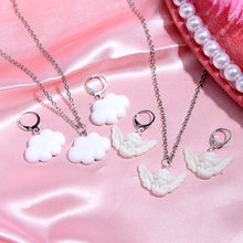 Cender Trendy New Cute Cupid Angel Drop Earrings for Women Creative 3 Color Clouds Earring Fashion Jewelry 2020 New Party Gift 2019 new jewelry fashion wolf cute cat design party hook earring colorful round drop earrings accessories for women pretty gift