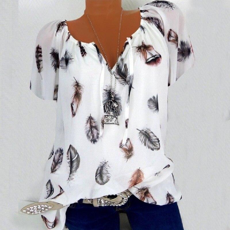 Fashion Summer Women Boho Blouses Casual Vintage Print Shirts Plus Size Women Clothing Women V-Neck Short Sleeve Black Tops(China)