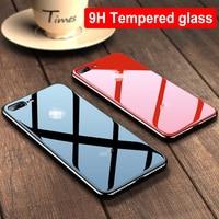 جراب هاتف من الزجاج المقوى مطلي بالكهرباء ، حافظة Funda لهاتف iPhone 11 12 Pro XS Max XR X 8 7 6 s 6 s Plus أسود أبيض أحمر ذهبي