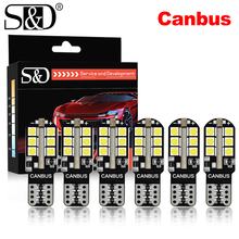 6 sztuk W5W LED T10 Led Canbus 168 194 LED żarówka 24SMD samochodów światło obrysowe boczne lampka tablicy rejestracyjnej biały niebieski żółty czerwony różowy 12V 6000K