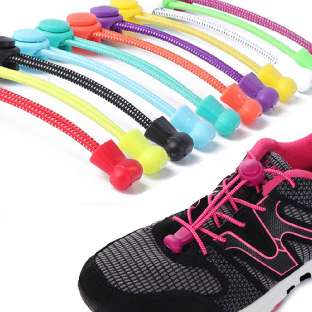 2Pcs Unisex Elastic Silicone Shoe Laces All Sneakers Fit Sport Shoelaces Unisex No Tie Locking Round solid Lazy Shoe laces