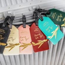 Модная бирка для багажа из искусственной кожи с буквенным принтом, переносные аксессуары для путешествий, ярлык для багажа, держатель для удостоверения личности и адреса, багаж