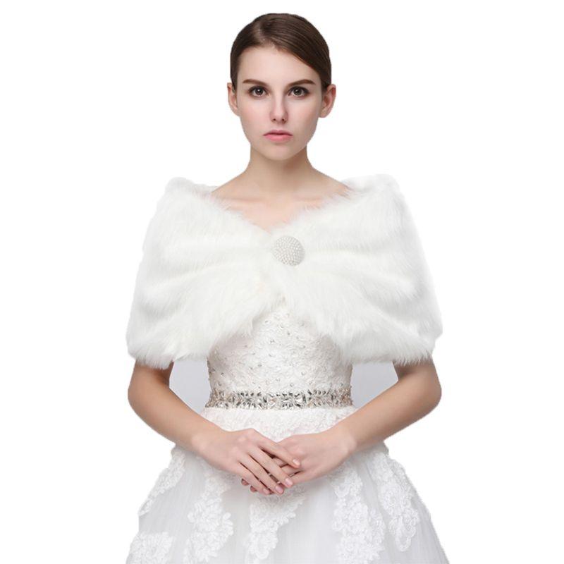 Mujer De Pelo Artificial Chales Decoraci/ón Paquete C/álido Para Novia Encogi/éndose De Hombros Vestidos