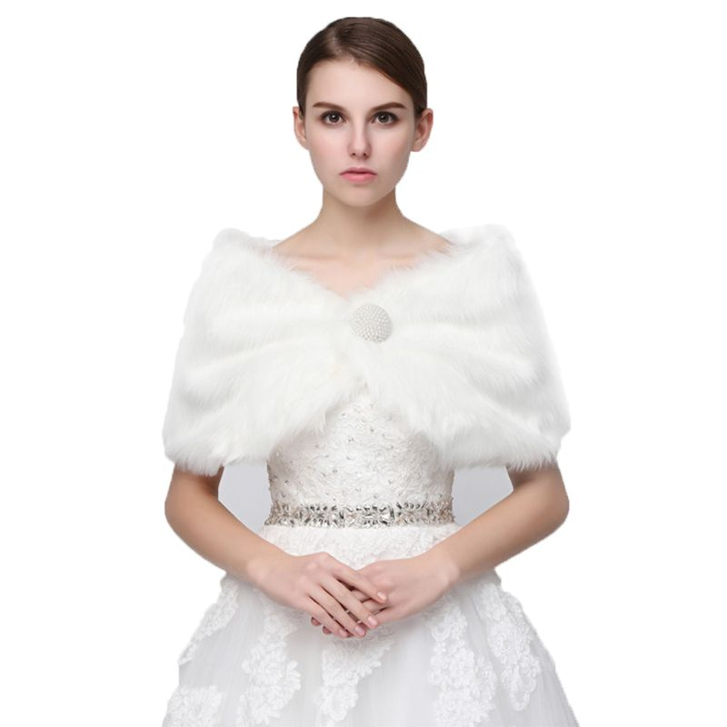 Pure White Elegant Warm Faux Fur Shawl Wedding   Wrap   Bridal Plush Short Coat Fairy Marriage Accessories
