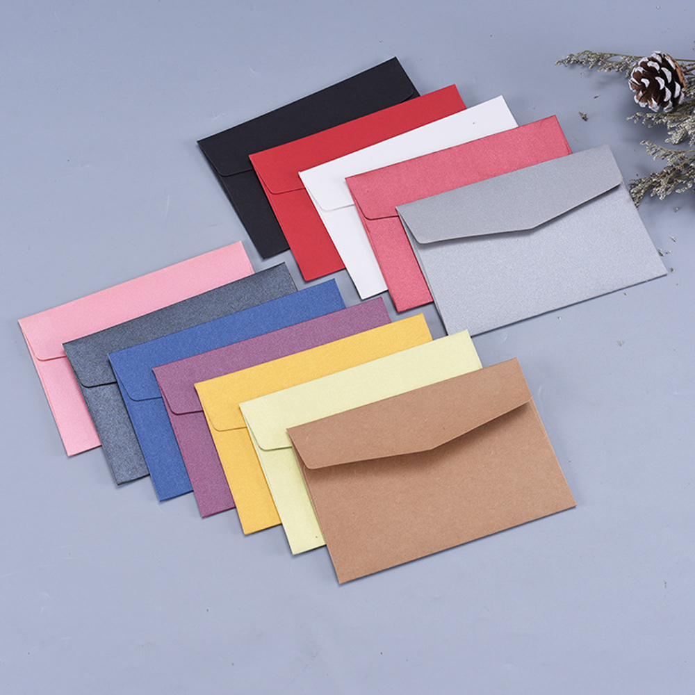 50PCS/lot A6 Postcard Envelope Card Bookmark Card Set Invitation Color Mini Envelopes Pearl Craft Paper Gift Bag