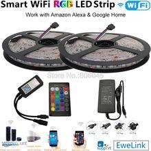 5M 10M 12V elastyczne SMD 5050 listwy RGB LED taśma 60 led/m + moc + eWelink kontroler Wifi Alexa Google Home zestaw sterowania głosem