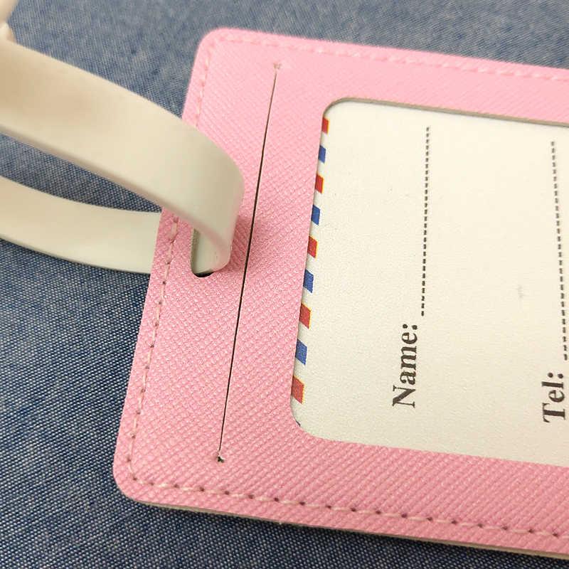 Mode PU Leder Karte Gepäck Tag Frauen Reise Zubehör Koffer ID Adresse Halter Gepäck Internat Tag Tragbare Label Tasche